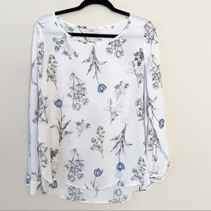 Loft Floral Chiffon Long Sleeve Boat Neck Blouse